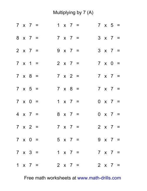 The 36 Horizontal Multiplication Facts Questions -- 7 by 0-9 (All) Math Worksheet