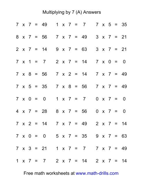 The 36 Horizontal Multiplication Facts Questions -- 7 by 0-9 (All) Math Worksheet Page 2