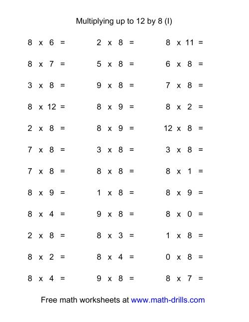 The 36 Horizontal Multiplication Facts Questions -- 8 by 0-12 (I) Multiplication Worksheet