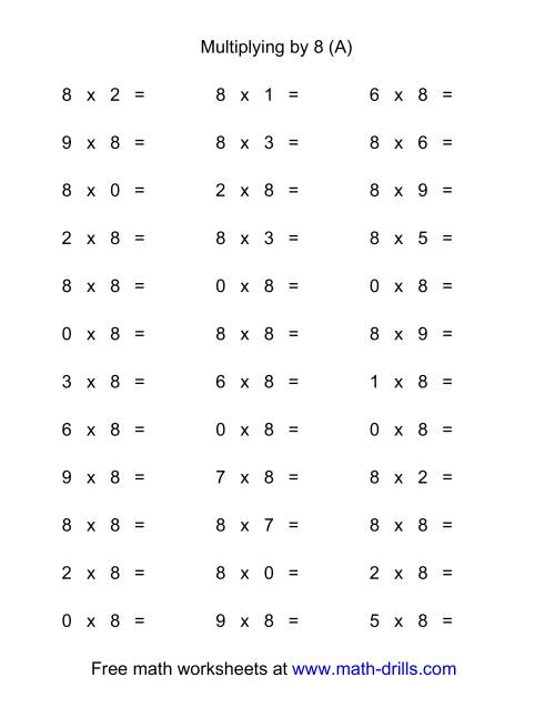 The 36 Horizontal Multiplication Facts Questions -- 8 by 0-9 (All) Math Worksheet