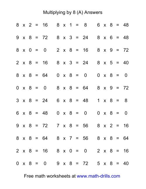The 36 Horizontal Multiplication Facts Questions -- 8 by 0-9 (All) Math Worksheet Page 2