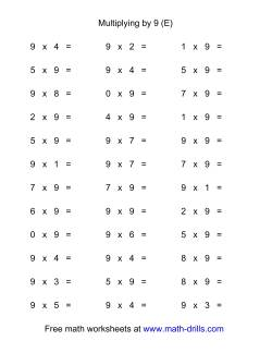 36 Horizontal Multiplication Facts Questions -- 9 by 0-9 (E)