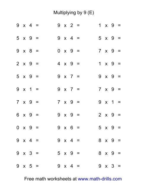 The 36 Horizontal Multiplication Facts Questions -- 9 by 0-9 (E) Multiplication Worksheet