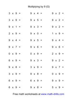 36 Horizontal Multiplication Facts Questions -- 9 by 0-9 (G)