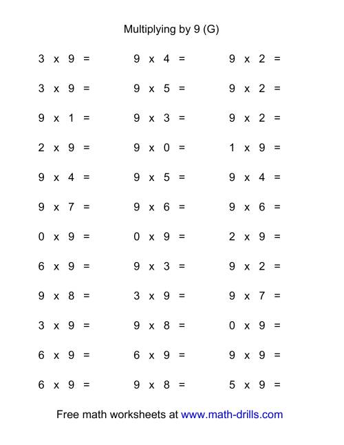 The 36 Horizontal Multiplication Facts Questions -- 9 by 0-9 (G) Multiplication Worksheet