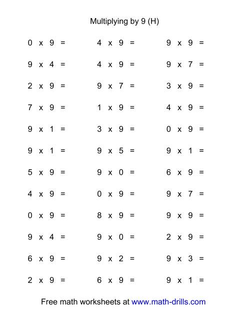 The 36 Horizontal Multiplication Facts Questions -- 9 by 0-9 (H) Multiplication Worksheet