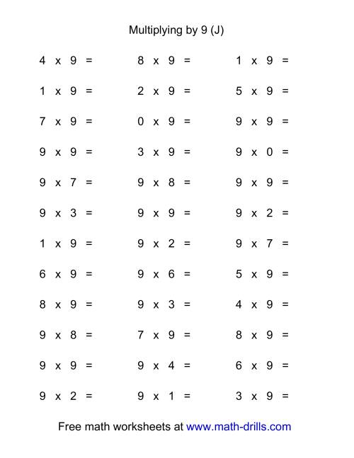 The 36 Horizontal Multiplication Facts Questions -- 9 by 0-9 (J) Multiplication Worksheet