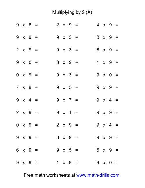 The 36 Horizontal Multiplication Facts Questions -- 9 by 0-9 (All) Math Worksheet