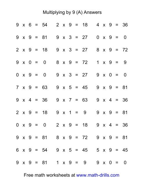 The 36 Horizontal Multiplication Facts Questions -- 9 by 0-9 (All) Math Worksheet Page 2
