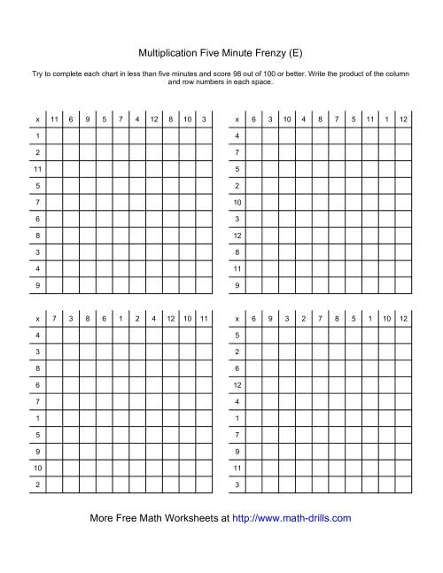 The Five Minute Frenzy -- Four per page (E) Multiplication Worksheet