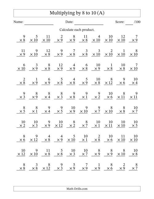 worksheet 5 Minute Math Drills Multiplication multiplying 1 to 12 by 8 9 and 10 a
