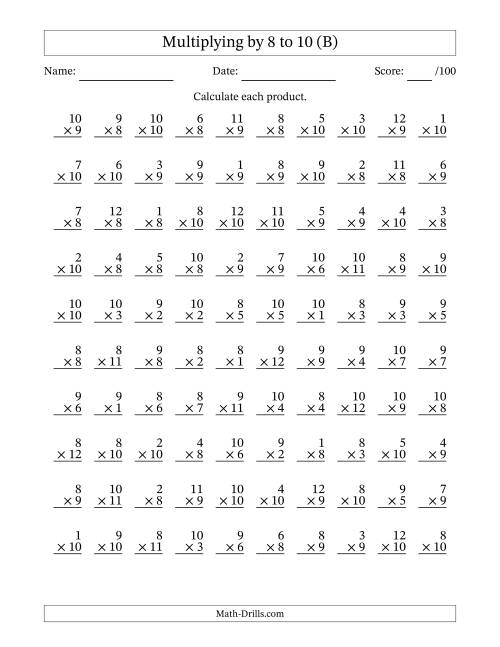 The Multiplying 1 to 12 by 8, 9 and 10 (B) Multiplication Worksheet