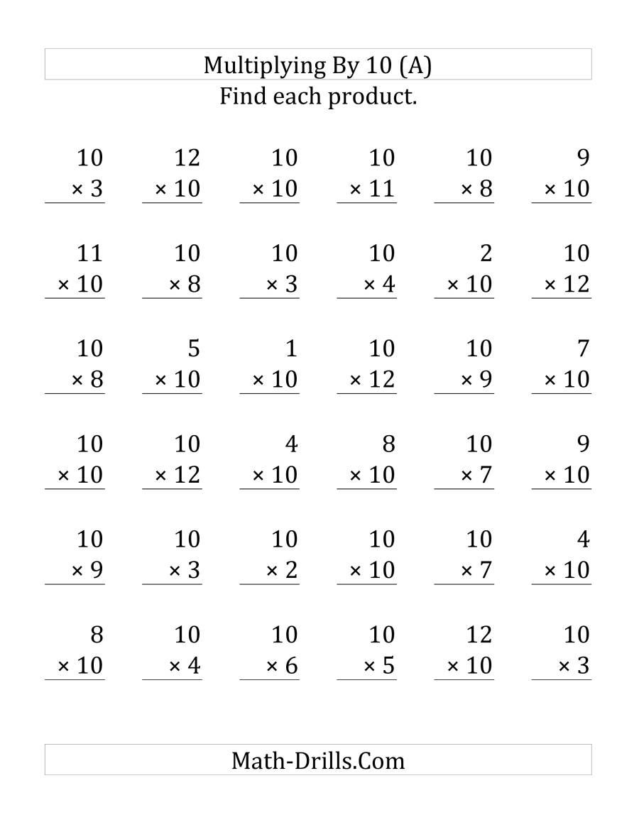 The Multiplying 1 to 12 by 10 (LP) Math Worksheet