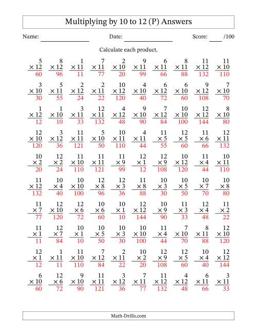 The Multiplying by 10 to 12 with Factors 1 to 12 (100 Questions) (P) Math Worksheet Page 2