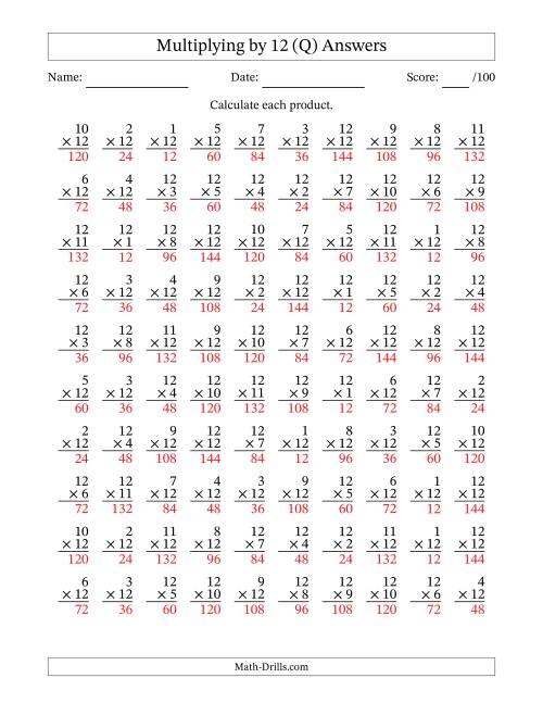 The 100 Vertical Questions -- Multiplication Facts -- 12 by 1-12 (Q) Math Worksheet Page 2