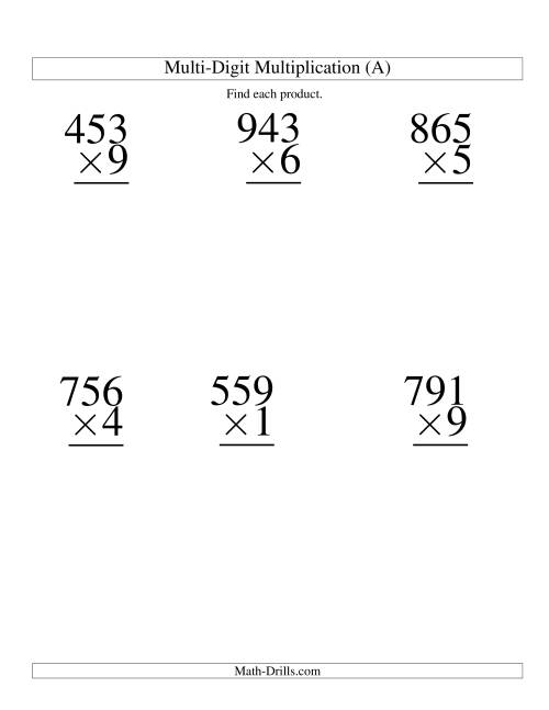 math worksheet : multiplying three digit by one digit  6 per page a  : Triple Digit Multiplication Worksheets