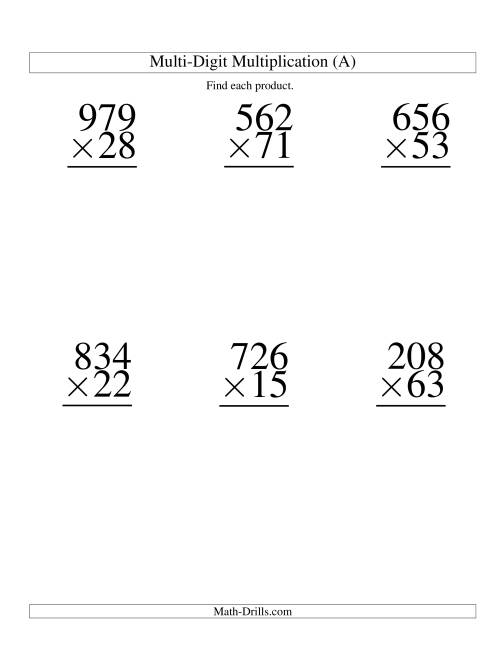 Multiplying ThreeDigit by TwoDigit 6 per page A – Double Digit Multiplication Worksheet
