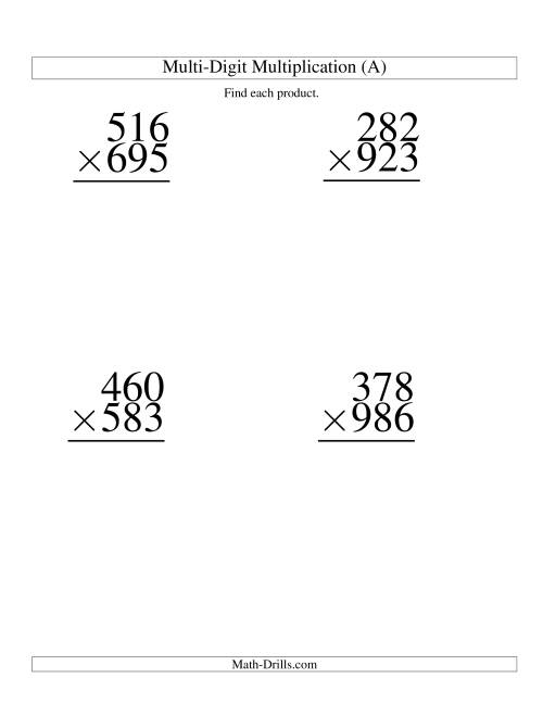 math worksheet : multiplying three digit by three digit  4 per page a  : Three Digit Multiplication Worksheets