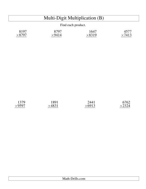 The Multiplying Four-Digit by Four-Digit -- 8 per page (B) Multiplication Worksheet