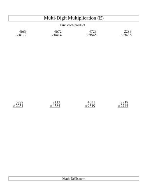 The Multiplying Four-Digit by Four-Digit -- 8 per page (E) Multiplication Worksheet