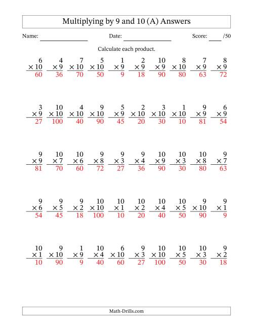 The Multiplying by 9 and 10 with Factors 1 to 10 (50 Questions) (A) Math Worksheet Page 2