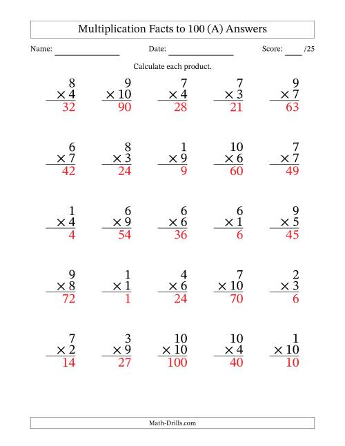 The Multiplication Facts to 100 (25 Questions) (No Zeros) (A) Math Worksheet Page 2