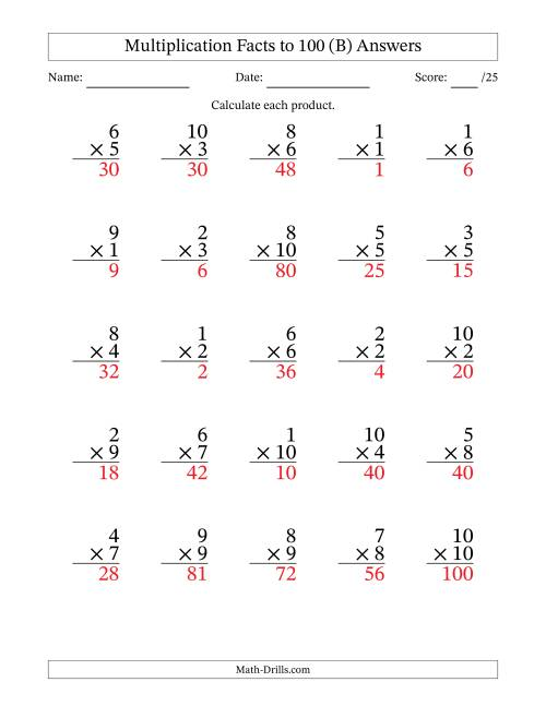 The Multiplication Facts to 100 (25 Questions) (No Zeros) (B) Math Worksheet Page 2