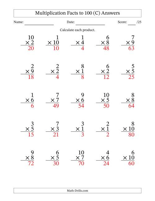 The Multiplication Facts to 100 (25 Questions) (No Zeros) (C) Math Worksheet Page 2