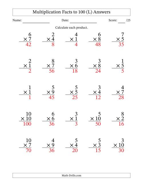 The Multiplication Facts to 100 (25 Questions) (No Zeros) (L) Math Worksheet Page 2