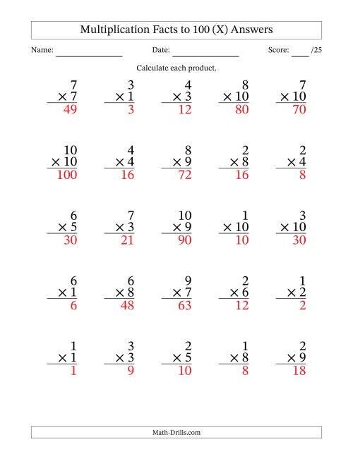 The Multiplication Facts to 100 (25 Questions) (No Zeros) (X) Math Worksheet Page 2