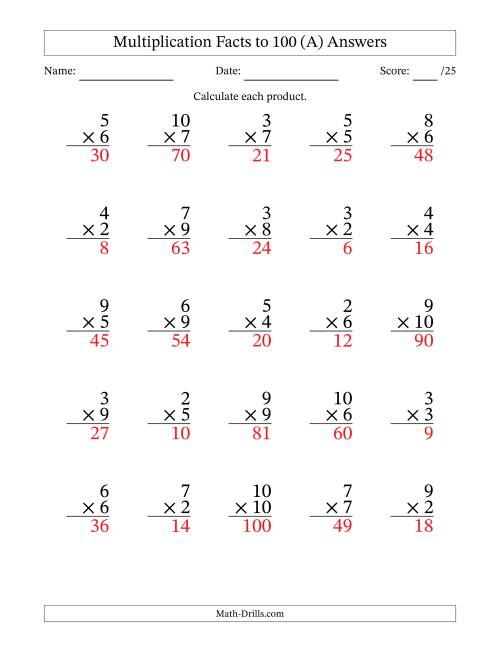 The Multiplication Facts to 100 No Zeros or Ones (36 questions per page) (A) Math Worksheet Page 2