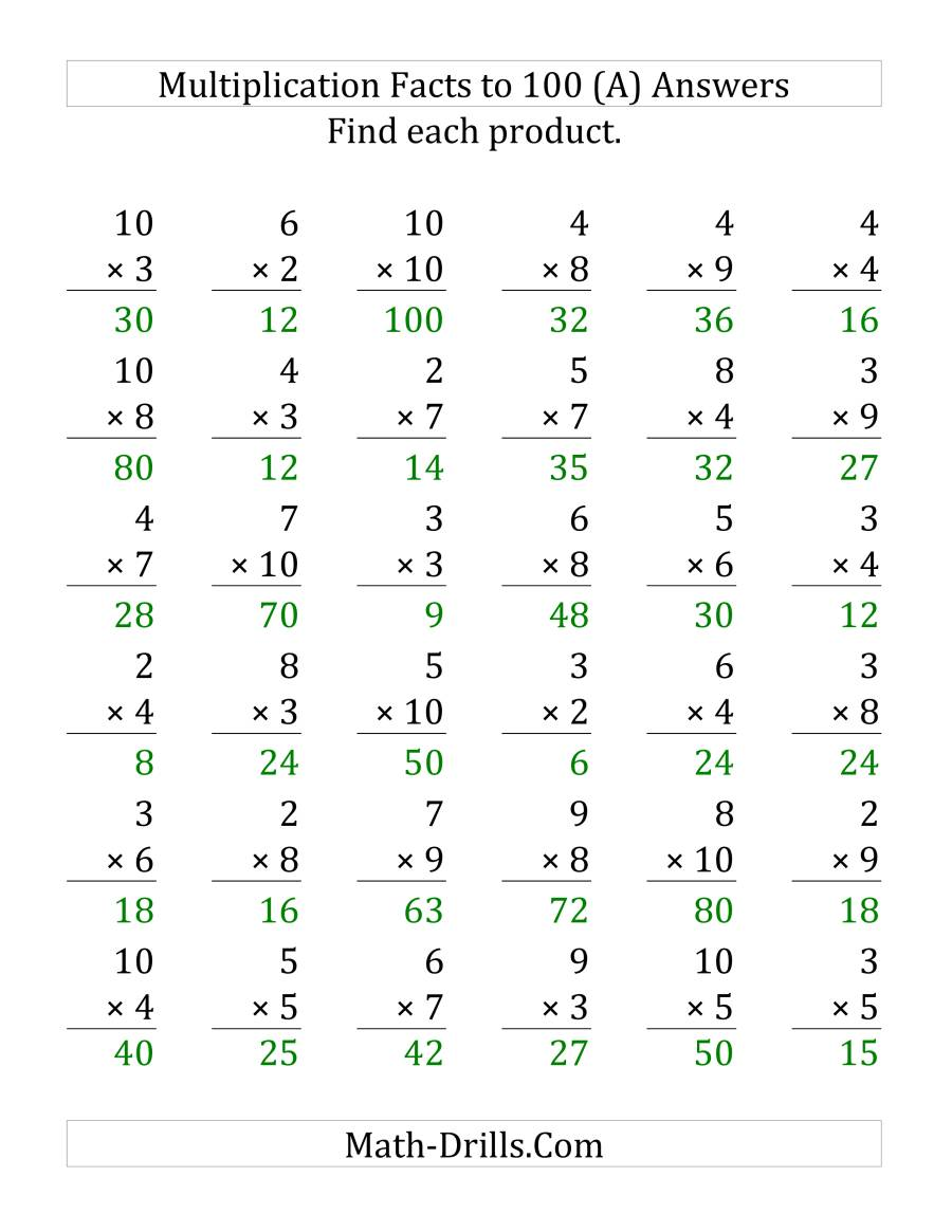 The Multiplication Facts to 100 No Zeros or Ones (35 questions per page) (LP) Math Worksheet Page 2