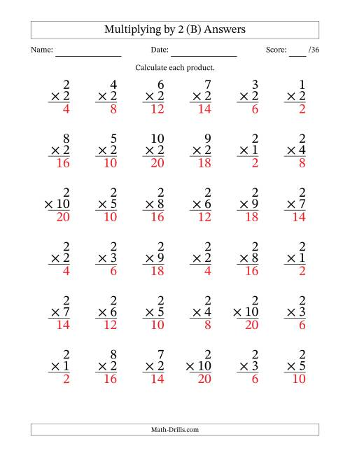 The Multiplying (1 to 10) by 2 (36 questions per page) (B) Math Worksheet Page 2