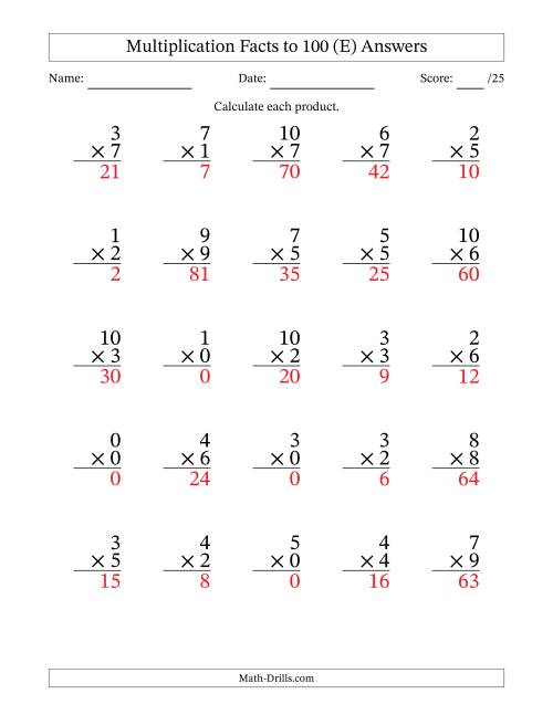 The Multiplication Facts to 100 Including Zeros (36 questions per page) (E) Math Worksheet Page 2