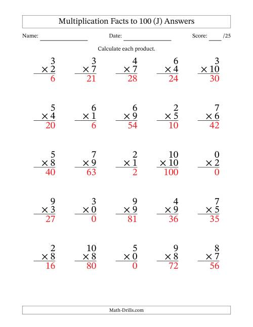 The Multiplication Facts to 100 Including Zeros (36 questions per page) (J) Math Worksheet Page 2