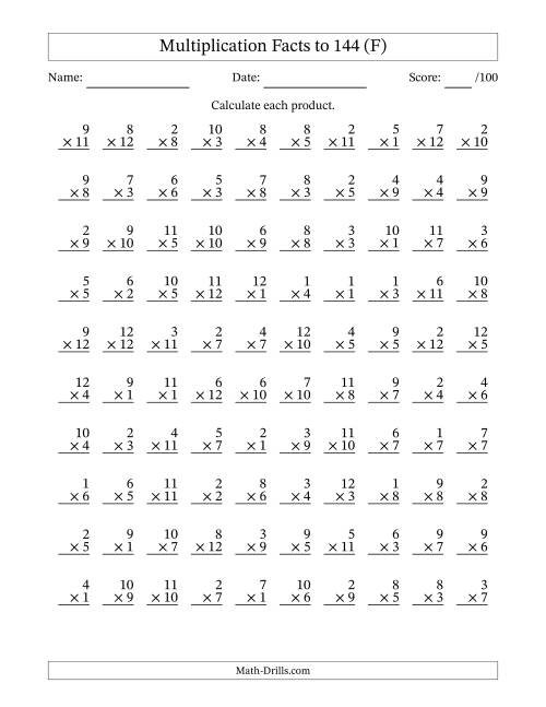 The Multiplication Facts to 144 No Zeros (F) Multiplication Worksheet