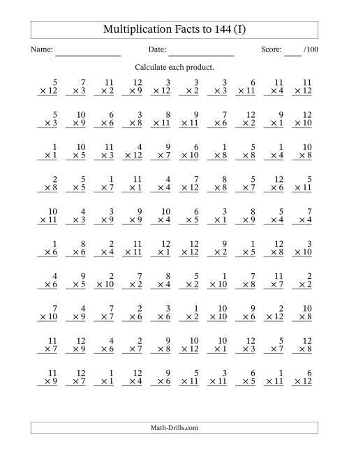 Multiplication Facts to 144 No Zeros (I)