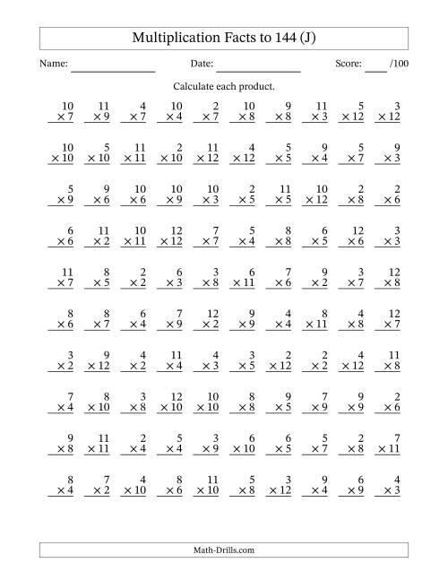 ... to 144 No Zeros No Ones (J) Multiplication Worksheet. Full-size Image