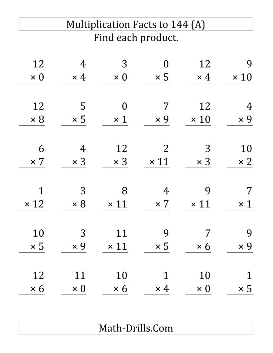 The Multiplication Facts to 144 Including Zeros (LP) Math Worksheet