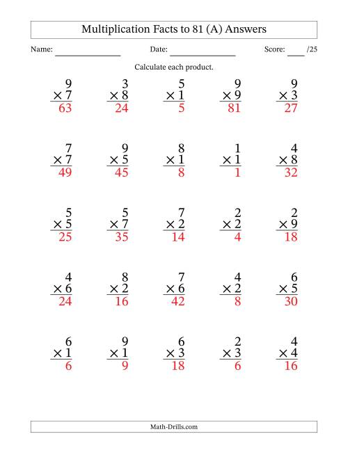 The Multiplication Facts to 81 (35 questions per page) (A) Math Worksheet Page 2