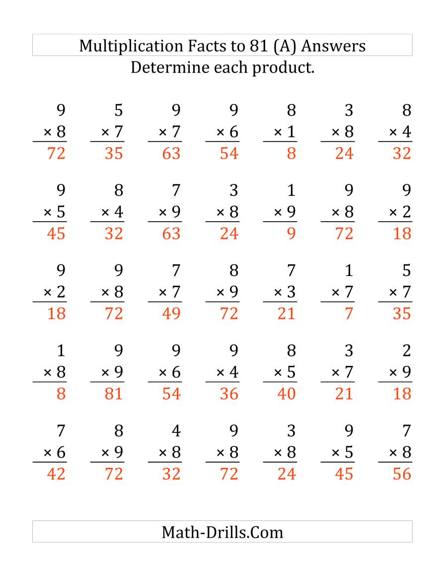 The Multiplying (1 to 9) by (7 to 9) (35 questions per page) (LP) Math Worksheet Page 2