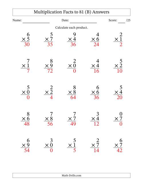 The Multiplication Facts to 81 Including Zeros (35 questions per page) (B) Math Worksheet Page 2