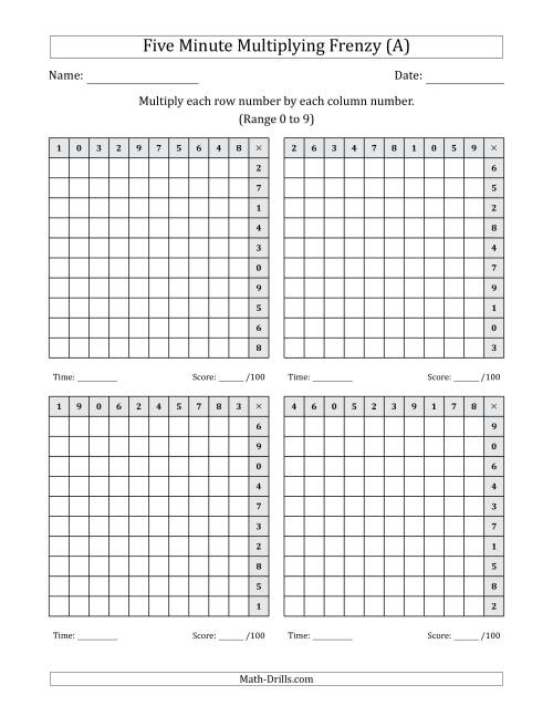 The Five Minute Multiplying Frenzy -- Four Left-Handed Charts per Page (Range 0 to 9) (A) Math Worksheet