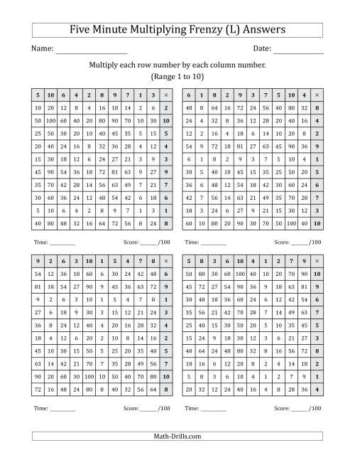 The Five Minute Multiplying Frenzy (Factor Range 1 to 10) (4 Charts) (Left-Handed) (L) Math Worksheet Page 2