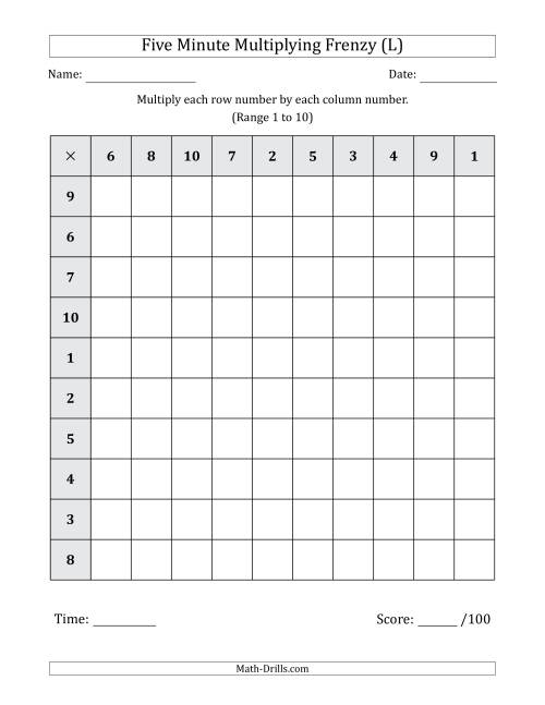 The Five Minute Multiplying Frenzy (Factor Range 1 to 10) (L) Math Worksheet