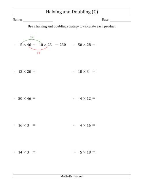 The Halving and Doubling Strategy with Easier Questions (C) Math Worksheet