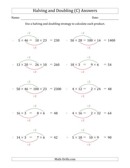 The Halving and Doubling Strategy with Easier Questions (C) Math Worksheet Page 2