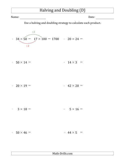 The Halving and Doubling Strategy with Easier Questions (D) Math Worksheet