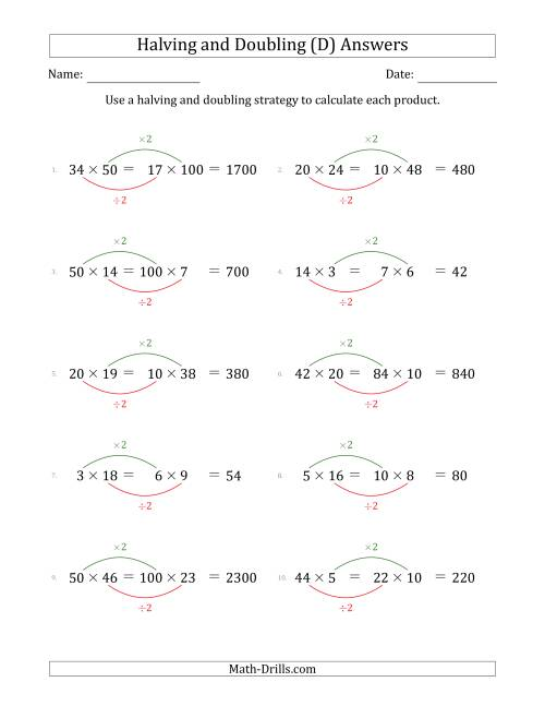 The Halving and Doubling Strategy with Easier Questions (D) Math Worksheet Page 2
