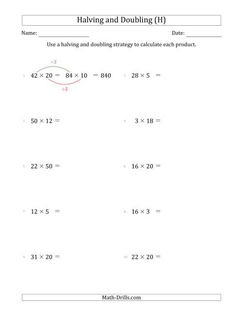 The Halving and Doubling Strategy with Easier Questions (H) Math Worksheet